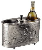 "12¾"" x 5½"" x 9¼"" Antique Embossed ""Victoria"" 2 Bottle Wine Chil"