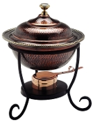 Round Antique Copper Chafing Dish, 3 Qt