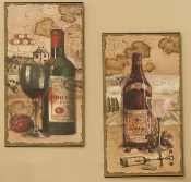 GiftCraft Metal Wine Print - Set of 2