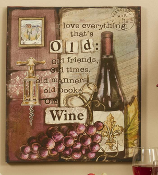GiftCraft MDF w/ Canvas Plaque - Old Wine
