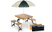 WOOD FOLDING PICNIC TABLE W/UMBRELLA