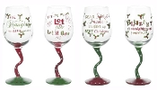 Ganz Christmas Tipsy Wine Glasses