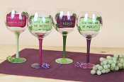 Hand Painted Large Wine Glass