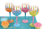Hand Painted Large Birthday Wine Glasses