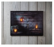 Rusty Lantern Lighted Canvas