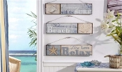 Giftcraft Set of 3 Beach Lovers Wooden Wall Signs