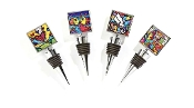 Romero Britto double-sided square bottle stoppers, 4 set.