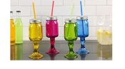 Colored glass mason jar glasses w/ straw and lid, 4/asst.