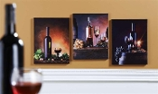 Canvas wine themes prints with LEDs