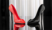 Jet black and Intense Red Stiletto Wine Bottle Holders