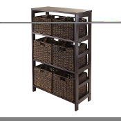 Granville 7pc Storage Shelf with 6 Foldable Baskets, Espresso