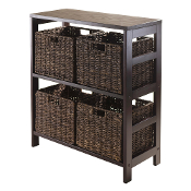Granville 5pc Storage Shelf with 4 Foldable Baskets, Espresso
