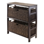 Granville 3pc Storage Shelf with 2 Large Baskets, Espresso