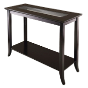 Genoa Rectangular Console Table with Glass and shelf