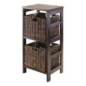 Granville 3pc Storage Shelf with 2 Foldable Baskets, Espresso