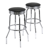 Summit 2-PC Swivel Stools with Faux Leather