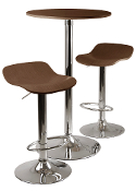 Kallie 3-pc Pub Table and Stools Set in Cappuccino