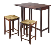 Lynwood 3-Pc Drop Leaf Table with Rush Seat Stool