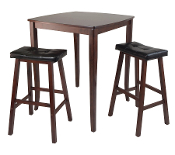 3-Pc Inglewood High/Pub Dining Table with Cushioned Saddle Stool