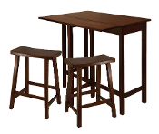 "Lynnwood 3-Pc High Drop Leaf Table with 24"" Saddle Seat Stool"
