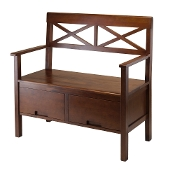 Madelyn Bench High Back with 2 Drawers