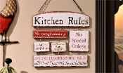 Wooden Kitchen Rules Sign Plaque