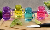 Miniature Colored Glass Mason Jar Shot Glass, Set of 4