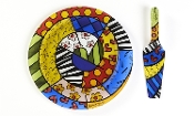 Romero Britto Painted Glass Cake Plate and Slicer