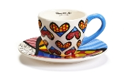 Romero Britto Teacup and Saucer Set, Heart Design