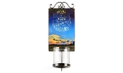 Photo Print Wall Sconce With Glass Pillar Candle Sleeve