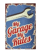 Gift Craft Garage Rules Wall Sign
