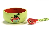 Romero Britto Bowl and Spoon Set (Apple)