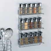 Organize It All 3-Tier Wall-Mounted Spice Rack, Chrome