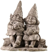 Gift Craft Polystone Boy and Girl Sitting Gnome