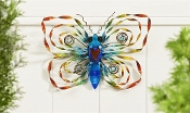 Colorful Butterfly Garden Plaque with Coiled Metal Ribbons