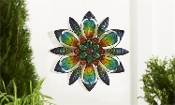 Giftcraft Painted Glass & Cut-Out Iron Flower Design Wall Plaque