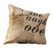 Gift Craft Live, Love, Laugh Sentiment Burlap Pillow