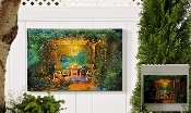 Gift Craft Serene Garden and Arbor at Night Motif LED Canvas