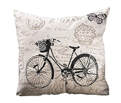 Gift Craft Bicycle Pillow, Cream, Black and Taupe