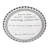 Ceramic Nice or Naughty Black Ink Customizable 12-inch Platter
