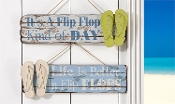 Giftcraft Flip Flop Beach Hanging Wall Signs, 2 Assorted