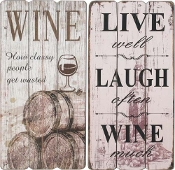 Wooden Wine Novelty Signs, 2 Designs
