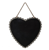 Tin Heart Shaped Chalk Board with Scalloped Edges