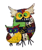 "Metal ""License Plated"" Two Owls Wall Hanging"