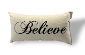 "Believe Pillow 100% Natural USA Made Canvas 8"" x 15"""