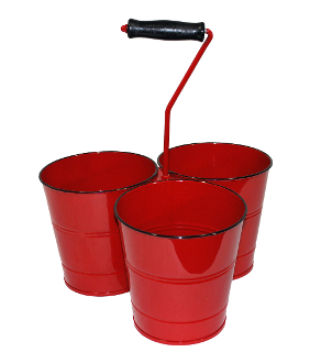 Kraft Klub Triple Bucket with Handle Red Enamel