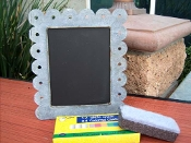 Chalkboard picture frame in Zinc with scalloped edges