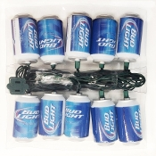 Budweiser Kurt Adler 10-Light Bud Light Beer Can Light Set