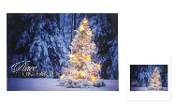 LED Lighted Canvas Christmas Artwork, Peace on Earth Snowy Tree