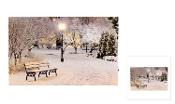 Riverland Christmas LED lighted Canvas Wall Print, Park Bench